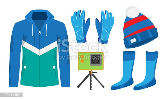 Stylish clothing and equipment for winter sports vector illustration