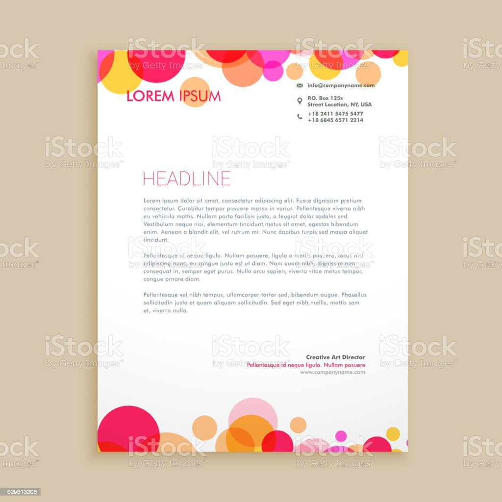 Stylish Colorful Business Letterhead Template Vector Design Ill