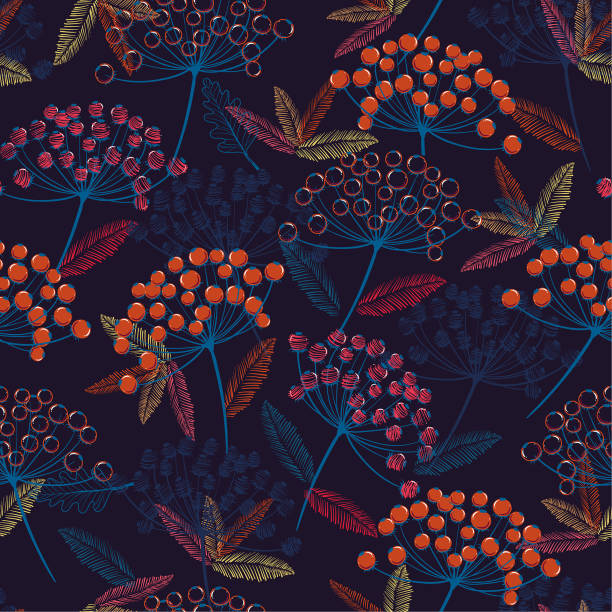 Stylish colorful Hand drawn seamless vector pattern. Fall/winter line flowers and red berries design for fashion,fabric.wallpaper and all prints vector art illustration