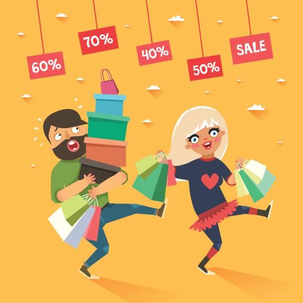 ilustrações de stock, clip art, desenhos animados e ícones de stylish couple shopping. happy blonde girl and tired boyfriend or husband with shopping bags - enjoying wealthy life