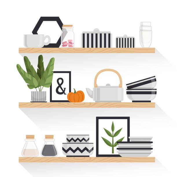 illustrazioni stock, clip art, cartoni animati e icone di tendenza di stylish crockery, plants and pictures in a scandinavian style on wooden shelves. elements of interior. vector illustration - cucina domestica