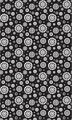 Daisy pattern in black and white on a black background.