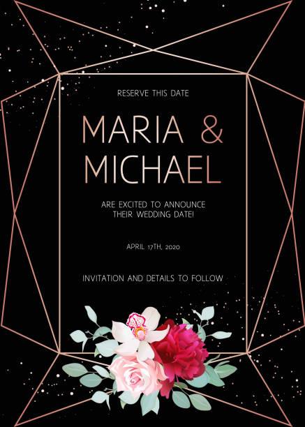 Stylish dark geometric wedding vector design frame with flowers. vector art illustration