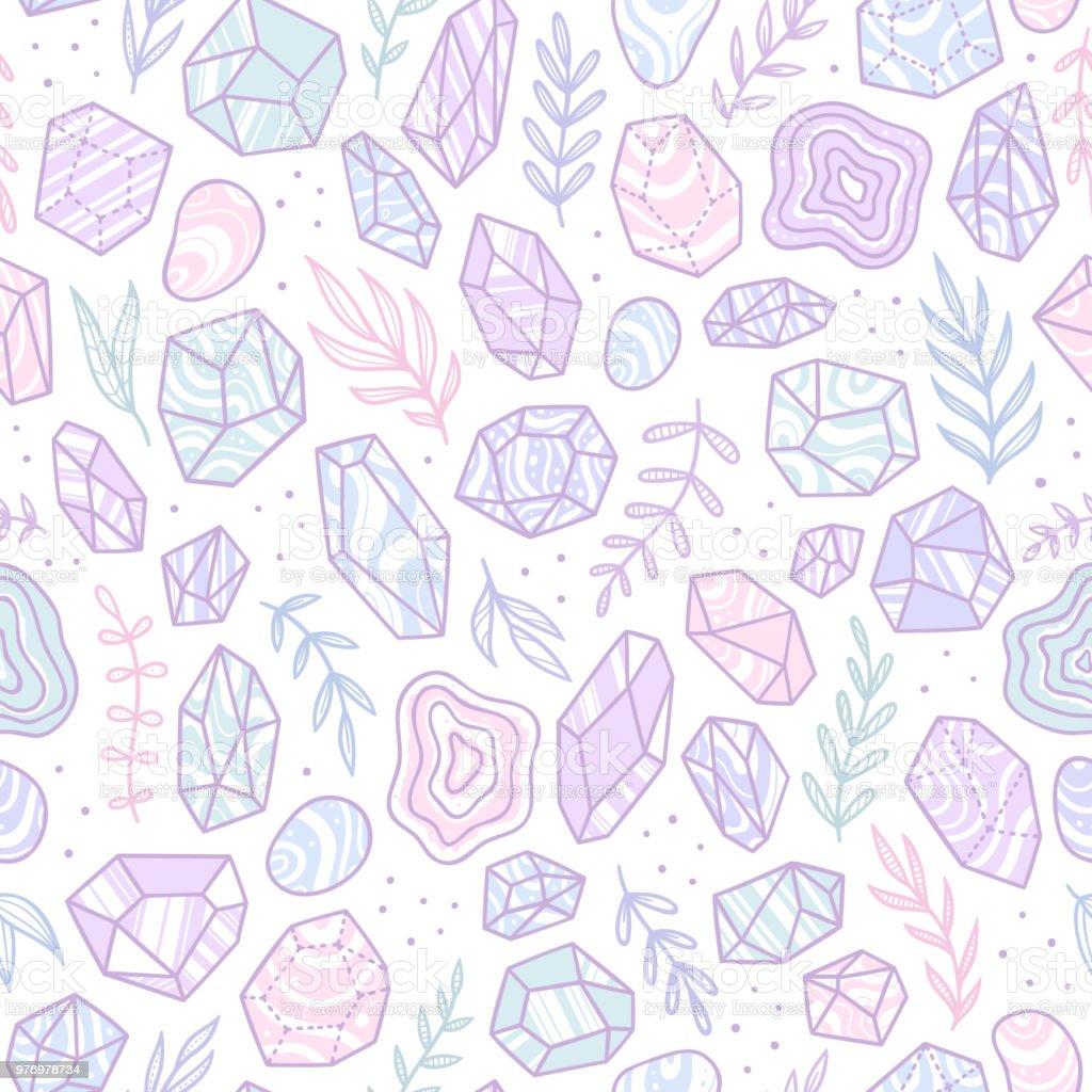 Stylish doodle gem crystals. vector art illustration