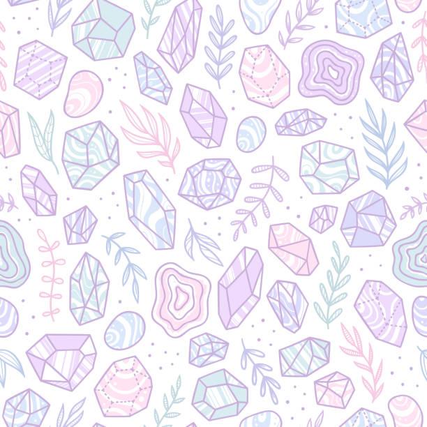 ilustrações de stock, clip art, desenhos animados e ícones de stylish doodle gem crystals. - jóias