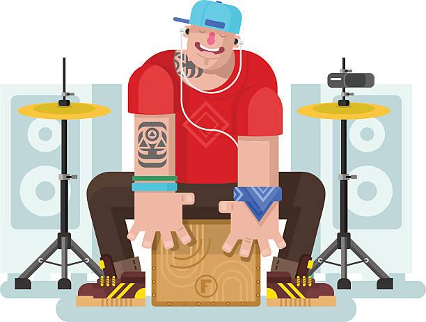 stylowe perkusista gry na cajon - talerz perkusyjny stock illustrations