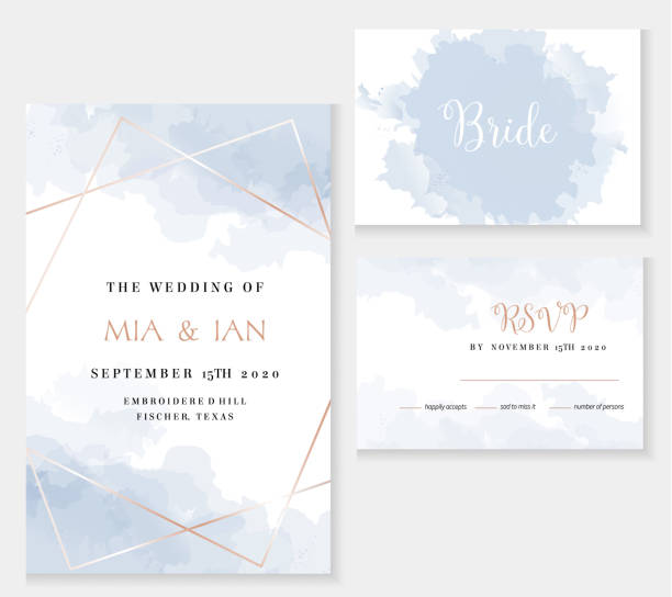 Stylish dusty blue and gold geometric vector design cards. Stylish dusty blue and gold geometric vector design cards. Set of golden line art cards. Winter wedding invitation. Snow or ice texture. Watercolor splash style. All elements are isolated and editable blue borders stock illustrations