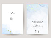 Stylish dusty blue liquid ink vector design cards. Set of brush painted art cards. Winter wedding invitation. Snow or ice cold texture. Watercolor splash style. All elements are isolated and editable