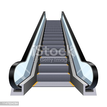 Beautiful vector design illustration of stylish escalator isolated on white background