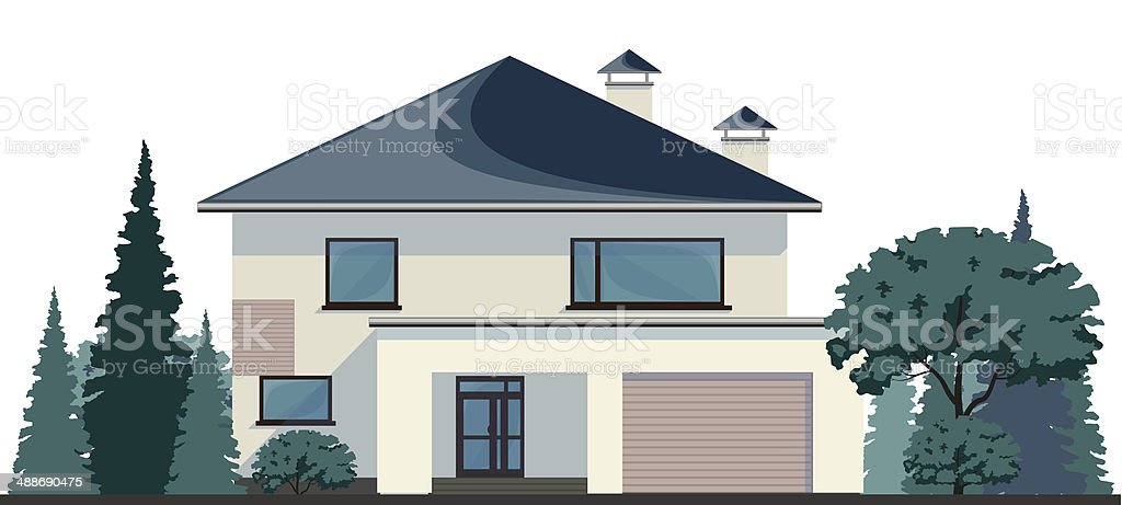 Stylish family home, vector vector art illustration