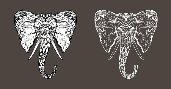 "Stylish fancy tattoo hippie ornate elephant head, Ganesh face, unique hand drawn ethnic black outline, elegant contour, silhouette filled with white, animal safari design, prints""n"