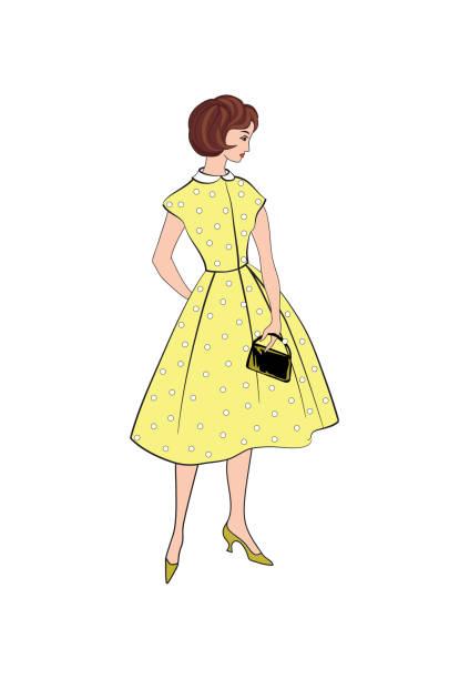 stylish fashion dressed girl (1950's 1960's style): retro fashion party. vintage fashion summer cloth from 60s. - summer fashion stock illustrations, clip art, cartoons, & icons