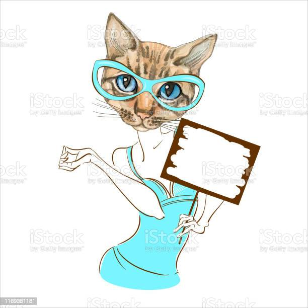Stylish fashion kitty with glasses fashionable style with a sign for vector id1169381181?b=1&k=6&m=1169381181&s=612x612&h=nyhqic5yxoo6dwhauxylfhbl9orlhkt1mx2iba7c pm=