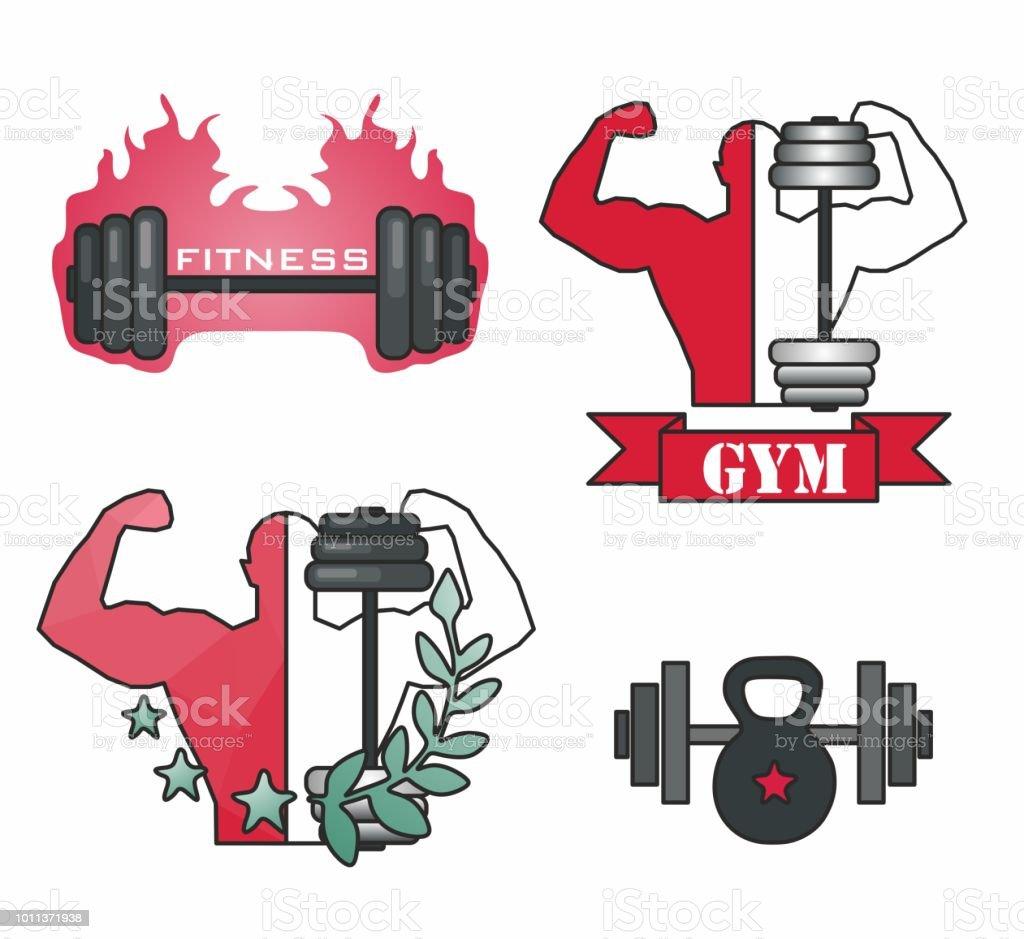 Stilvolle Mode Moderne Kreative Icons Für Fitness Gewicht Bar ...