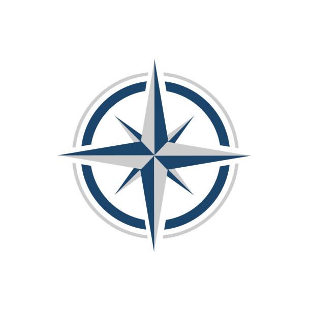 stylowe mieszkanie creative compass logo wektor concept design szablon - compass stock illustrations