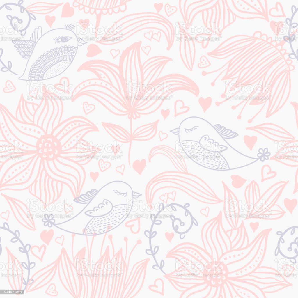 Ilustración de Patrón Transparente Floral Elegante En Estilo Vintage ...