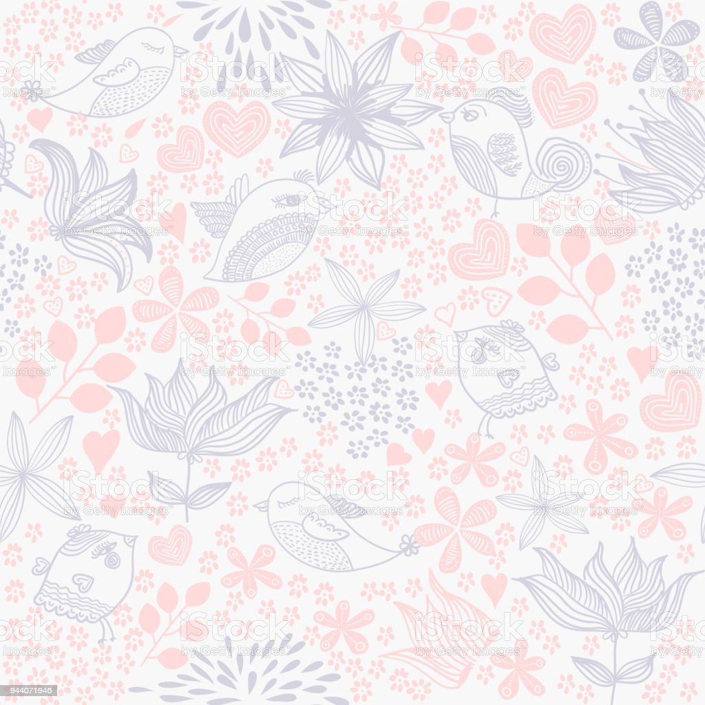 Stylish Floral Seamless Pattern In Vintage Style With Birds