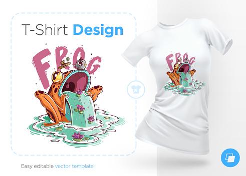 Stylish frog with bird on head. Prints on T-shirts, sweatshirts, cases for mobile phones, souvenirs.