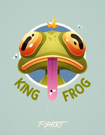 Stylish frog with crown on head. Prints on T-shirts, sweatshirts, cases for mobile phones, souvenirs. Isolated vector illustration