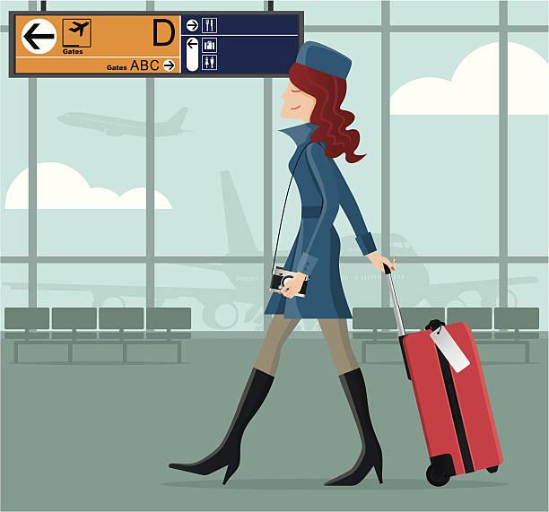 illustrations, cliparts, dessins animés et icônes de chic fille à l'aéroport - terminal aéroportuaire