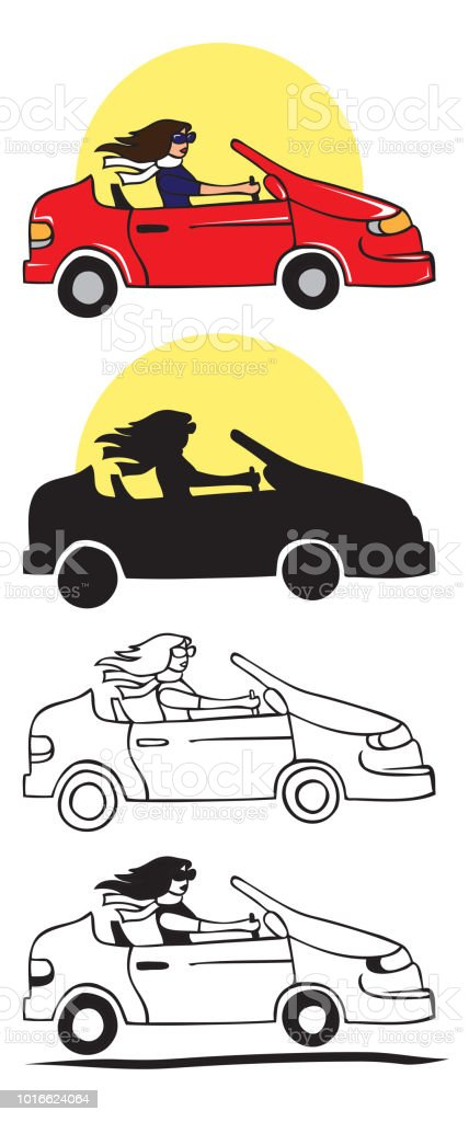 Stylish Girl Driving Car Illustration Stock Illustration