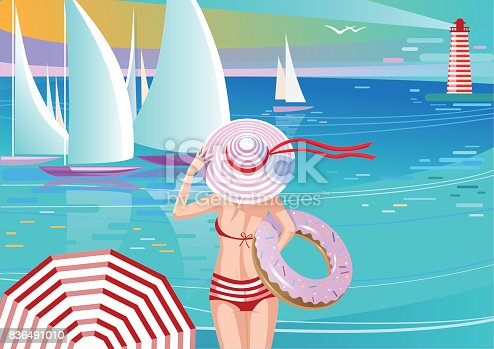 tylish Girl in Hat Watching Yachts. Holding Inflatable Swim Ring Shape of Donut.