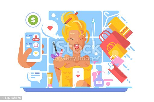 Stylish girl shopping online vector illustration. Young woman making purchases via internet mobile application flat style concept. Hand holding cellphone with open shop web site app