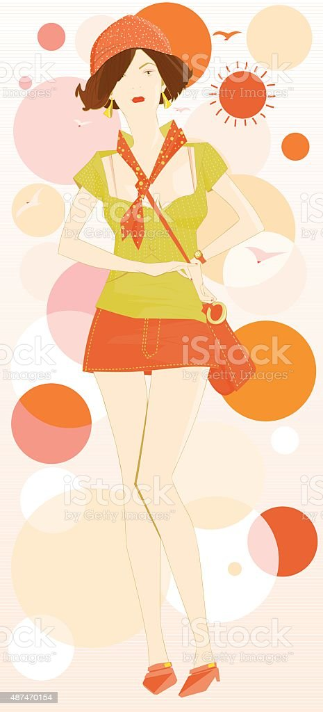 Stylish Girl Модная девушка vector art illustration