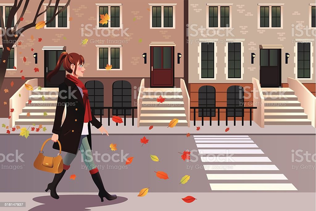 Stylish girl walking in New York city vector art illustration
