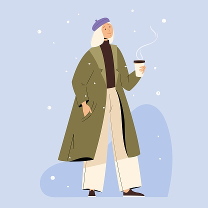 Stylish Girl walking with coffee cup wearing winter clothes. Vector illustration for winter and christmas greeting cards and other design