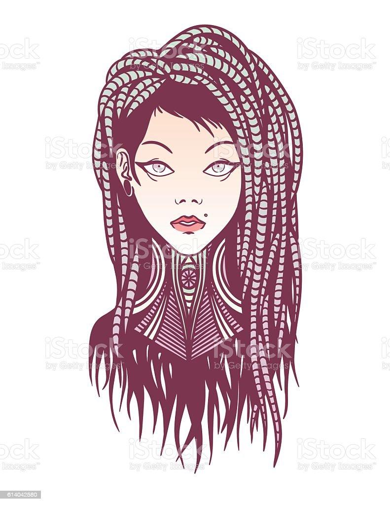 Stylish girl with dreadlocks, tattoo and piercing. vector art illustration
