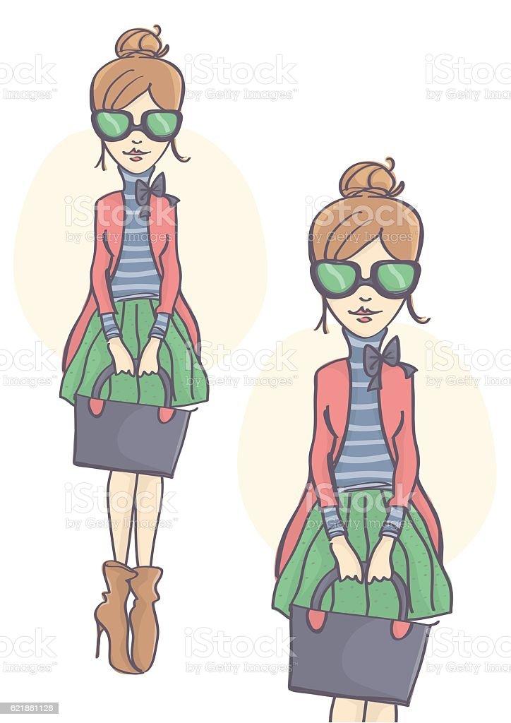 Stylish girl with green sunglasses vector art illustration