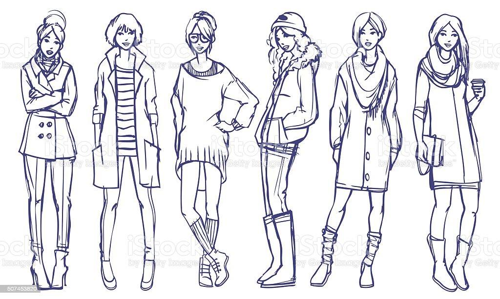 Elegante ragazze di Illustrazione di moda - arte vettoriale royalty-free di Abbigliamento