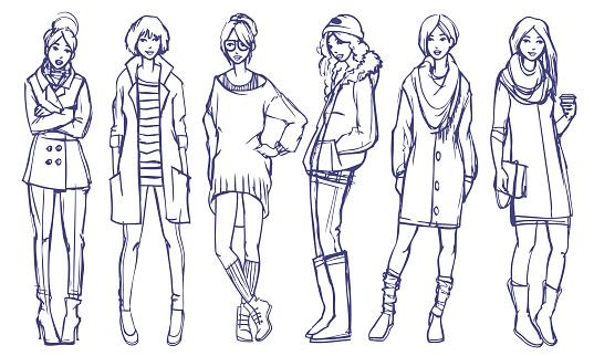 Elegante Ragazze Di Illustrazione Di Moda - Immagini vettoriali stock e altre immagini di Abbigliamento