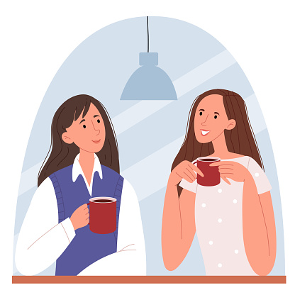 Stylish girls sitting in a cafe and talking. Successful women happily spend time together. Flat style modern design for web page, social media, poster.
