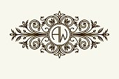 Stylish graceful monogram , Elegant line art icon design in Victorian style.