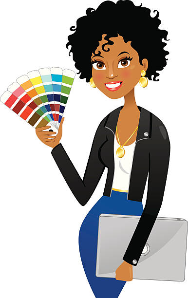 Stylish graphic or interior designer Cute stylish african american graphic or interior designer holding swatches and laptop interior designer stock illustrations