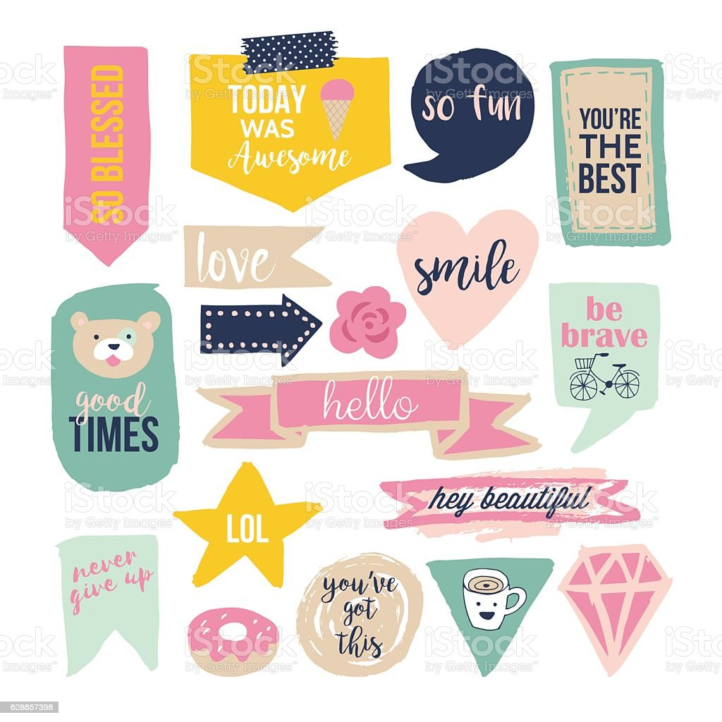 Stylish hand drawn stickers and labels for graphic and web – Vektorgrafik
