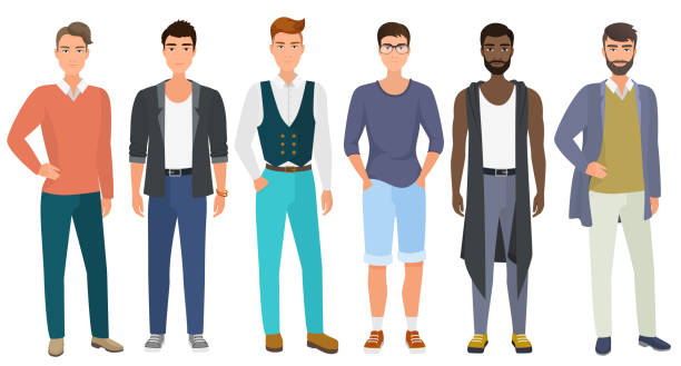 Stylish handsome men dressed in modern casual fashion male style clothes, vector illustration. Cartoon flat vector illustration. Stylish handsome men dressed in casual fashion male style clothes, vector illustration. Cartoon flat vector illustration suave stock illustrations