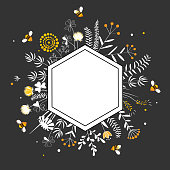 Stylish Hexagon Frame with cute honey flowers and bees. Premium quality Honey Label. Cartoon vector illustration