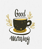 Stylish illustration with cup of coffee. Hipster poster design. Vector background with space elements on the cup and lettering 'Good Morning'.