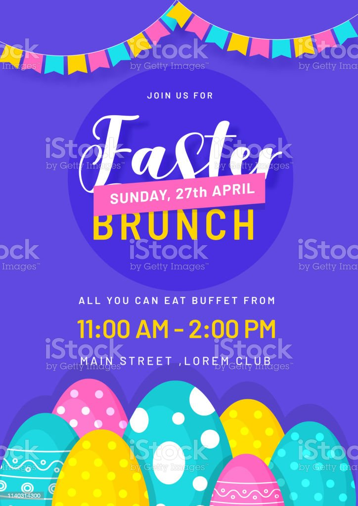 Stylish Invitation Card Design With Illustration Of Colorful Eggs And Bunting Decoration On Purple Background With Time Date And Event Details Stock