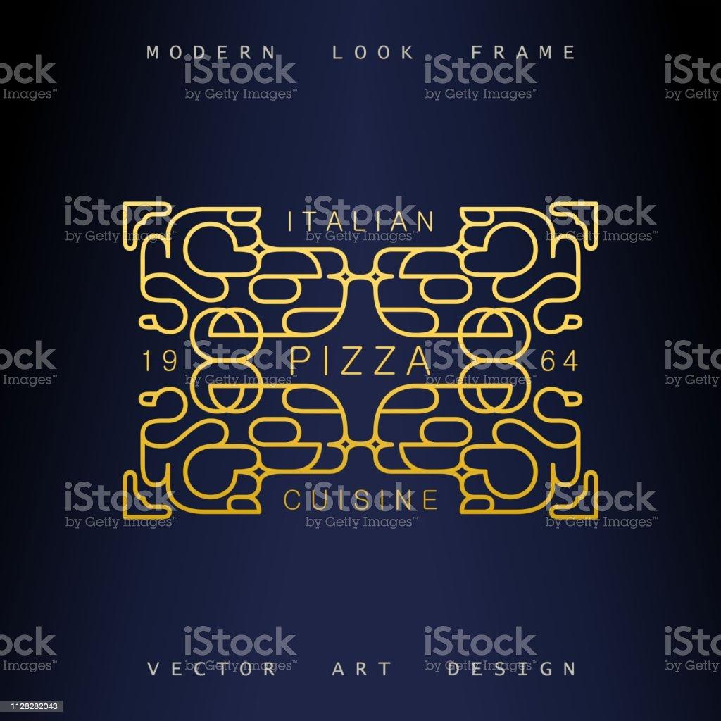 Stylish linear art deco frame. Quirky but elegant design. Golden...