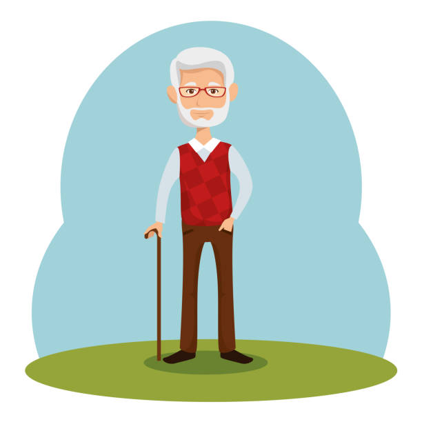 Stylish man icon Old man with walking cane over blue green and white background vector illustration only senior men stock illustrations