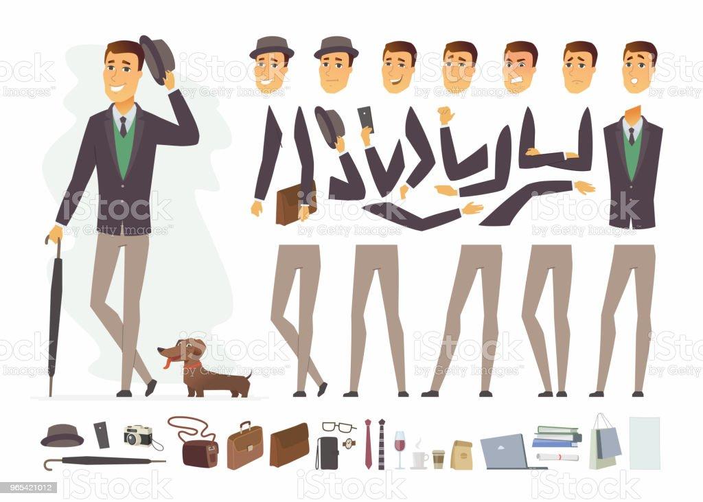 Stilvollen Mann - Charakter Vector Cartoon Menschen Konstruktor – Vektorgrafik