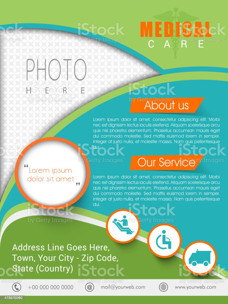 stylish medical care template banner or flyer design stock