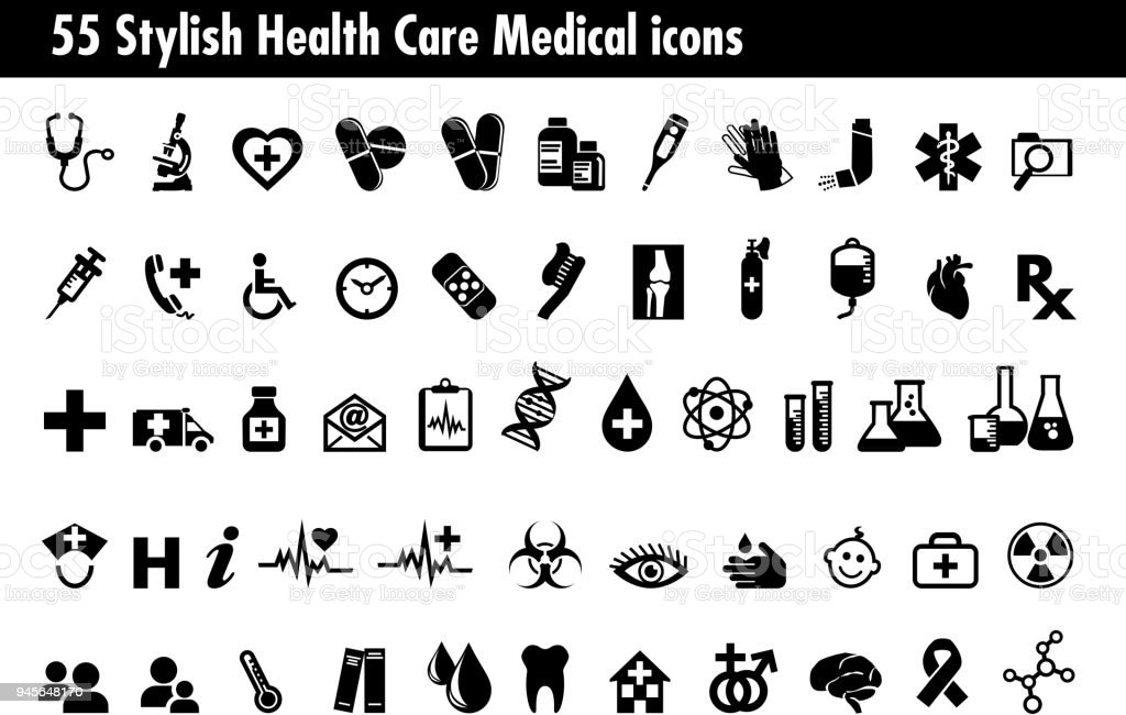 55 Stylish Medical Healthcare Icons Set, Symbols relating to pharmacy business, drugstore and science, for use in your products and presentations. vector art illustration
