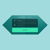 stylish member login form template design vector