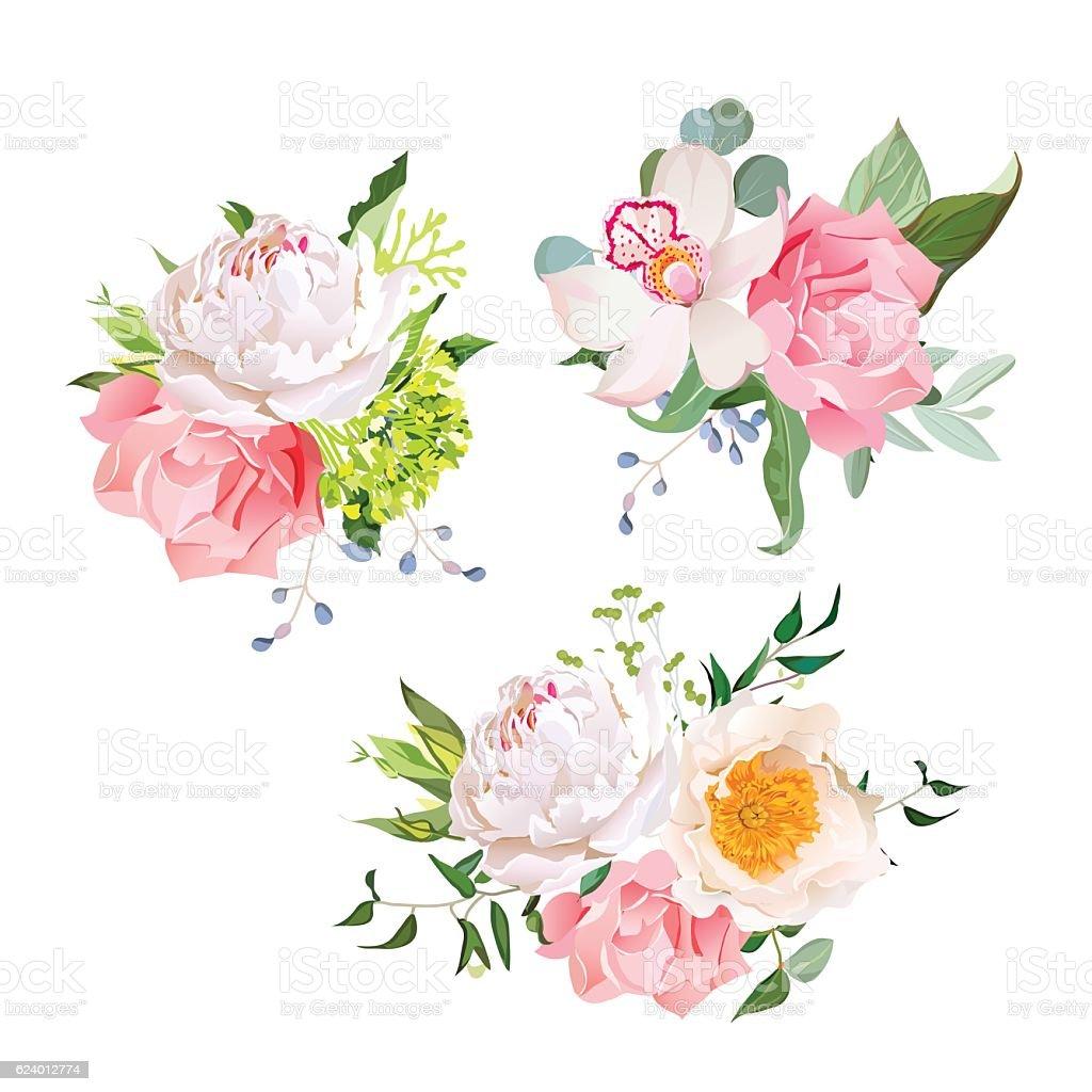 Stylish mix of flower bouquets vector design set stock vector art stylish mix of flower bouquets vector design set royalty free stylish mix of flower bouquets izmirmasajfo