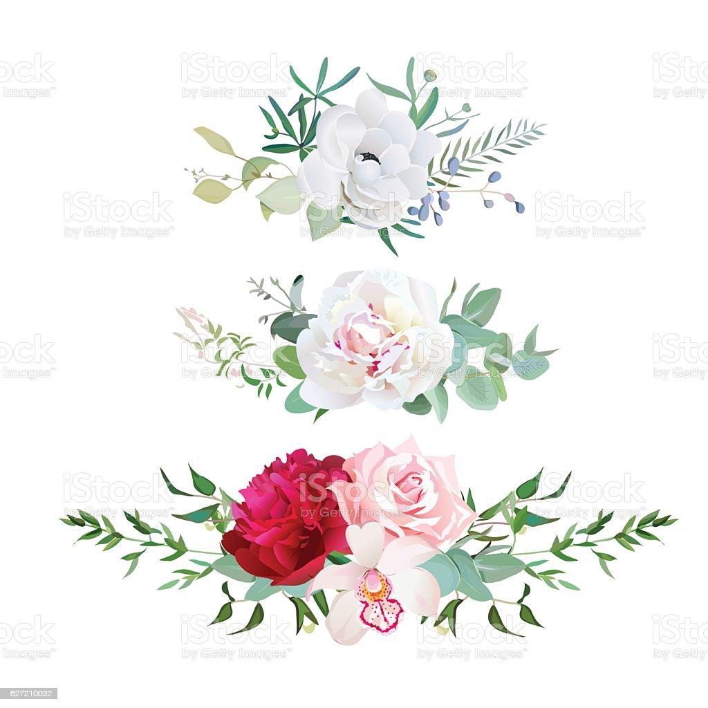 Stylish Mix Of Horizontal Flower Bouquets Vector Design Flowers Set